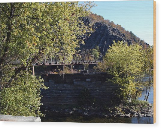 Railroad Bridge Over The Potomac Wood Print by Rebecca Smith