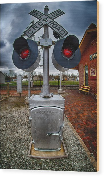 Railroad Crossing Signal Wood Print
