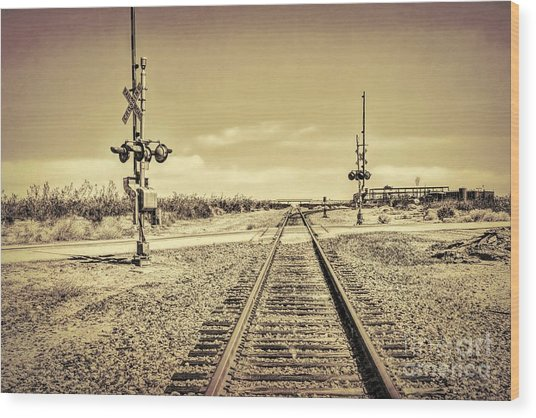 Railroad Crossing Textured Wood Print