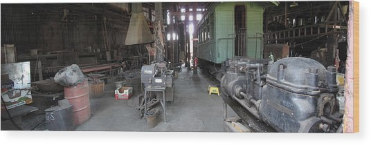 Railroad Shop Wood Print by Larry Darnell