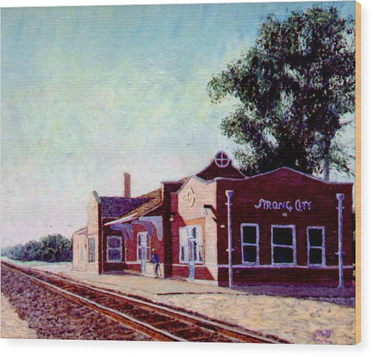 Railroad Station Wood Print