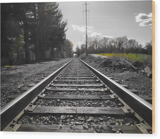 Railroad Tracks Bw Wood Print