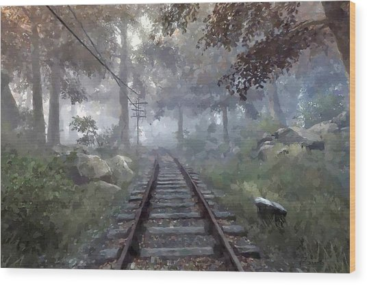 Rails To A Forgotten Place Wood Print