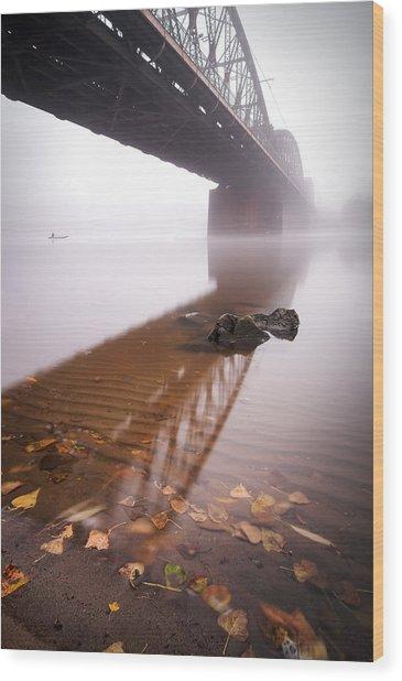 Railway Bridge During Foggy Morning In Prague, Czech Republic Wood Print