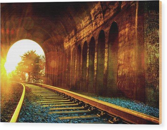 Railway Track Sunrise Wood Print