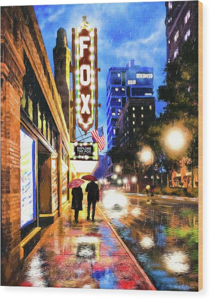 Wood Print featuring the mixed media Rain Falling On Peachtree Street - Atlanta by Mark Tisdale