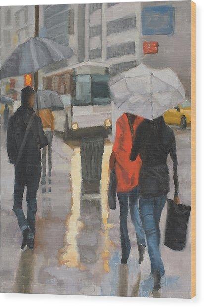 Rain In Midtown Wood Print
