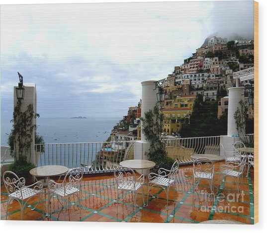Rain In Positano Wood Print