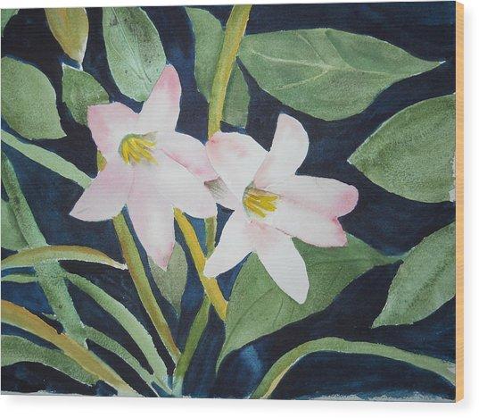 Rain Lilly Wood Print