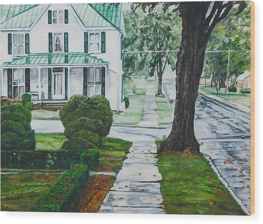Rain On Green Roof Wood Print by Thomas Akers