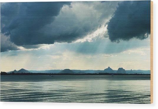 Rain On The Glass Mountains Wood Print