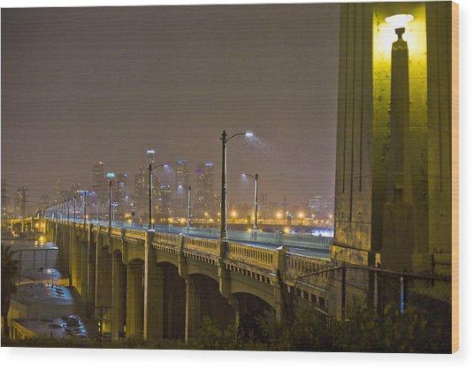 Rain On The Sixth Street Bridge  Wood Print by Kevin  Break