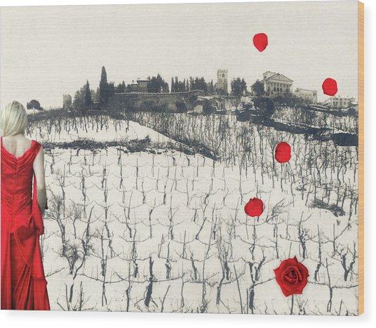 Rain Red Roses Wood Print