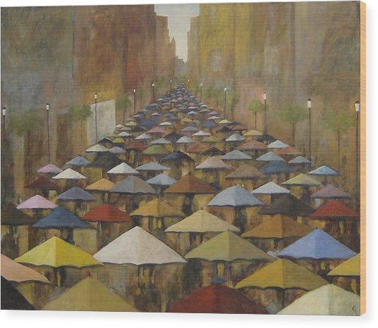 Rain Street Wood Print
