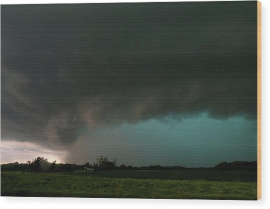 Rain-wrapped Tornado Wood Print