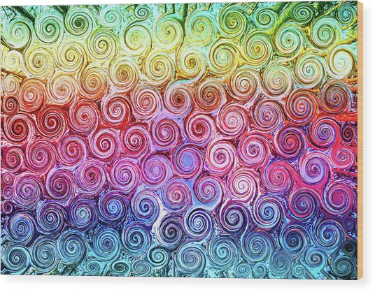Rainbow Abstract Swirls Wood Print