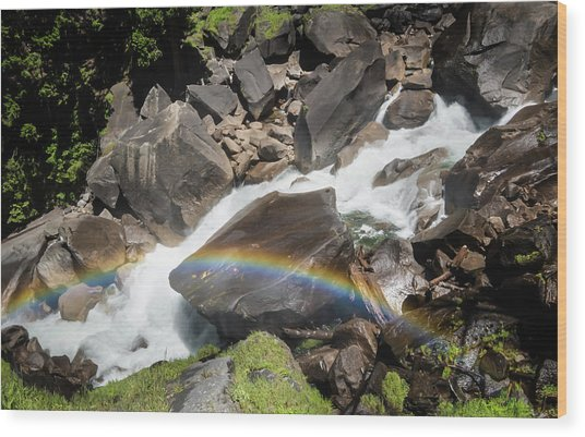 Rainbow At Vernal Falls- Wood Print