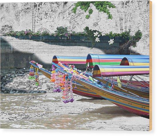 Rainbow Boats Thailand Photo Art Wood Print