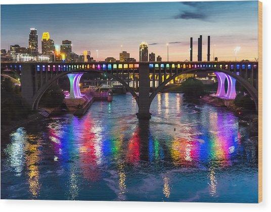 Rainbow Bridge In Minneapolis Wood Print