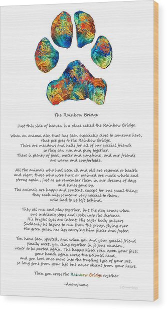 Rainbow Bridge Poem With Colorful Paw Print By Sharon Cummings Wood Print