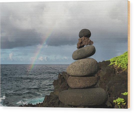 Wood Print featuring the photograph Rainbow Cairn by William Dickman