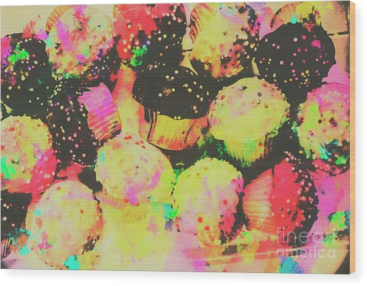 Rainbow Color Cupcakes Wood Print