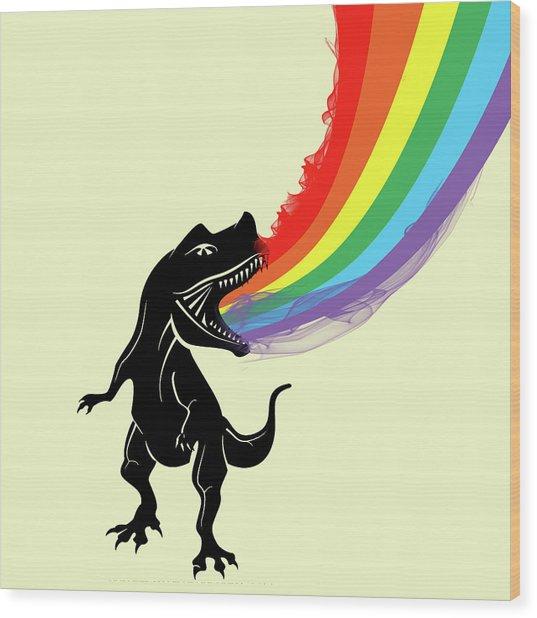 Rainbow Dinosaur Wood Print