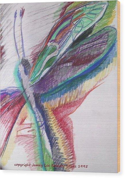 Rainbow Dragonfly Wood Print by Jamey Balester
