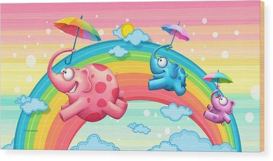 Rainbow Elephants Wood Print