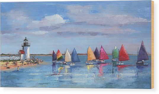 Rainbow Fleet Parade At Brant Point Wood Print