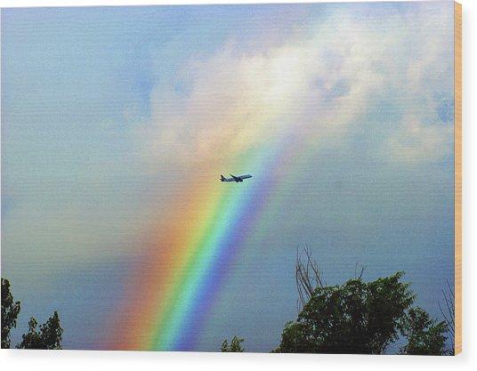 Rainbow Flight Over Denver Colorado Wood Print