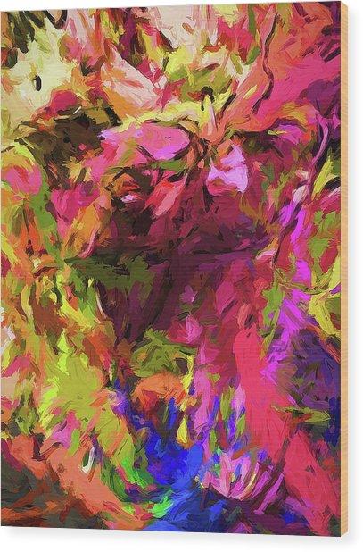 Rainbow Flower Rhapsody Pink Cobalt Blue Wood Print