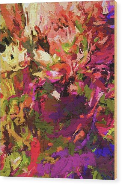 Rainbow Flower Rhapsody Purple Green Wood Print