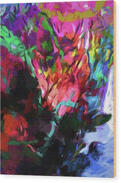 Rainbow Flower Rhapsody Red Turquoise Blue Wood Print