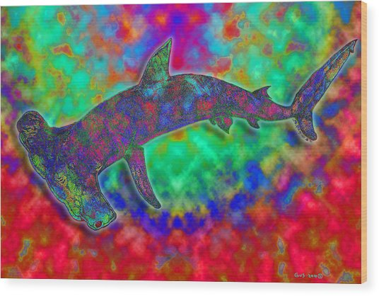 Rainbow Hammerhead Shark Wood Print by Nick Gustafson