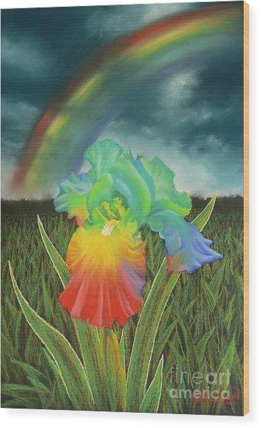 Rainbow Iris Wood Print by Louise Green