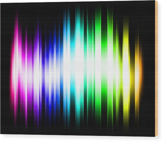 Rainbow Light Rays Wood Print