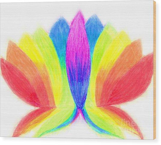 Rainbow Lotus Wood Print by Chandelle Hazen