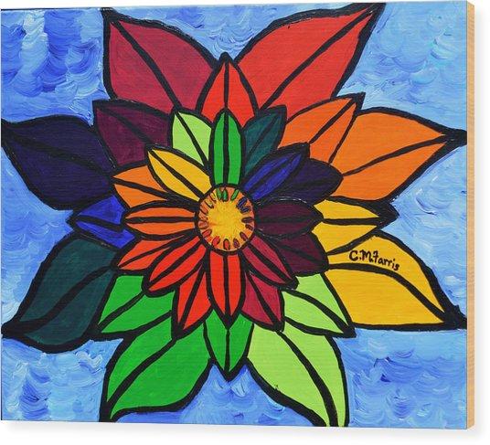 Rainbow Lotus Flower Wood Print