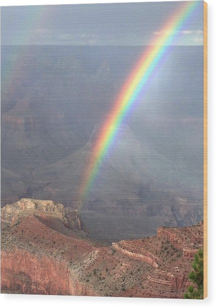 Rainbow Meets Mather Point Wood Print