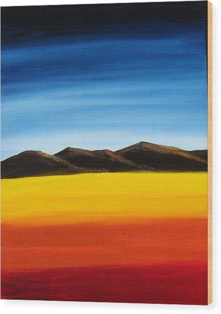 Rainbow Mountains Wood Print by Liz Vernand