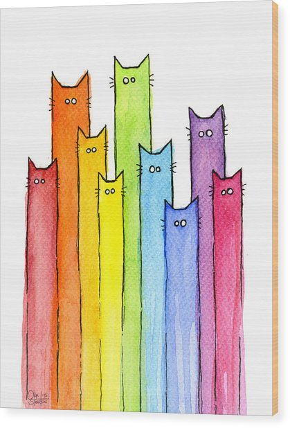 Rainbow Of Cats Wood Print