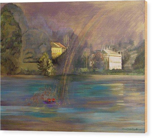 Rainbow On Lake Como Wood Print by Maria Grazia  Repetto