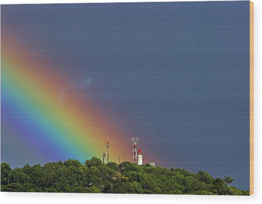Rainbow On Lighthouse- St Lucia Wood Print