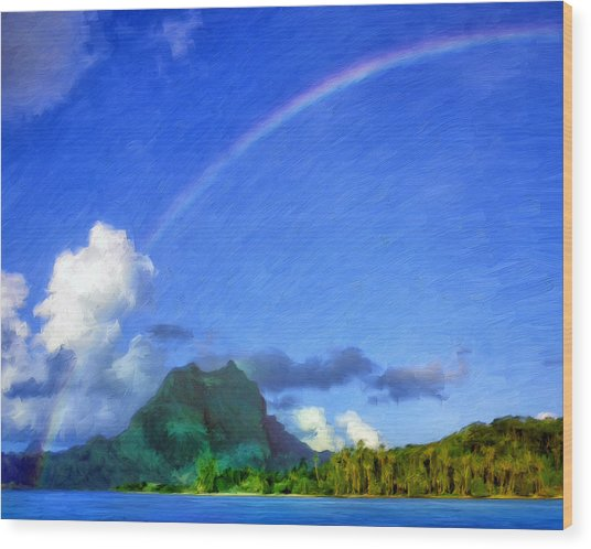 Rainbow Over Bora Bora Wood Print