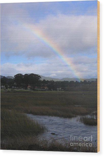 Rainbow Over Carmel Wetlands Wood Print