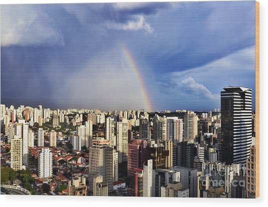 Rainbow Over City Skyline - Sao Paulo Wood Print