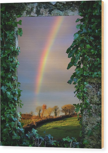 Wood Print featuring the photograph Rainbow Over County Clare, Ireland, by James Truett