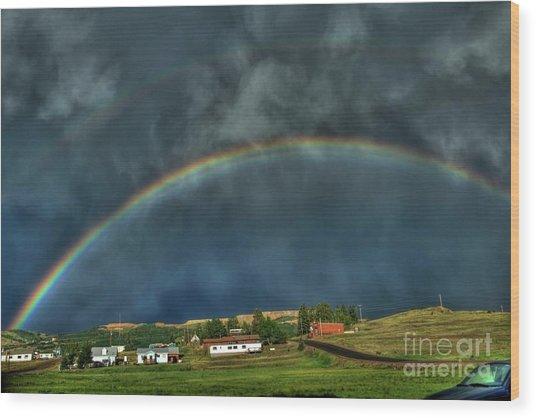 Rainbow Over Cripple Creek Wood Print