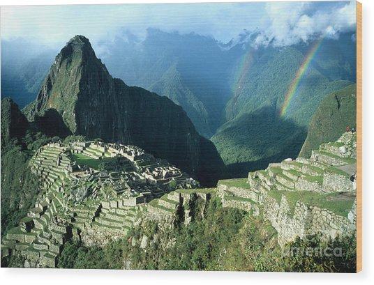 Rainbow Over Machu Picchu Wood Print